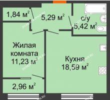 1 комнатная квартира 43,85 м² в ЖК Маленькая страна, дом № 4 - планировка