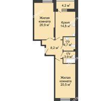 2 комнатная квартира 79,3 м² в ЖК Монолит, дом № 89, корп. 3 - планировка