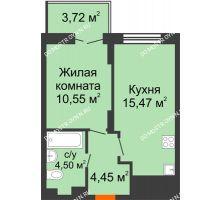 1 комнатная квартира 36,09 м² в ЖК КМ Анкудиновский парк, дом № 20 - планировка