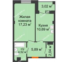 1 комнатная квартира 41,88 м² в Жилой район Берендей, дом № 14 - планировка
