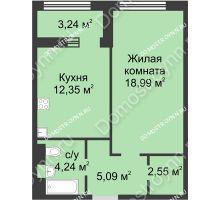 1 комнатная квартира 44,84 м² в ЖК Караваиха, дом № 5 - планировка