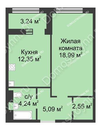1 комнатная квартира 44,84 м² в ЖК Караваиха, дом № 5
