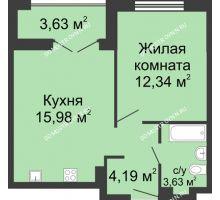 1 комнатная квартира 37,95 м² в ЖК Клевер, дом № 2 - планировка
