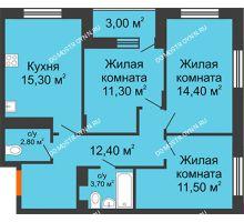 3 комнатная квартира 72,9 м² в ЖК Цветы 2, дом № 4 - планировка