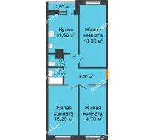 3 комнатная квартира 74,2 м² в ЖК Торпедо, дом № 1