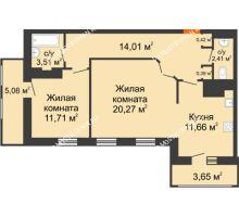 2 комнатная квартира 73,11 м² в ЖК Покровский, дом № 1 - планировка