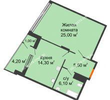 1 комнатная квартира 56,2 м² в ЖК Маршал Град, дом № 3 - планировка