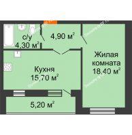 1 комнатная квартира 48,5 м² в ЖК Куйбышев, дом № 15 - планировка
