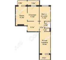 2 комнатная квартира 75,2 м² в ЖК Сормовская сторона, дом № 4