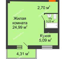 Студия 40 м² в ЖК Боярский двор Премиум, дом 2 очередь - планировка