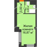 Студия 23,46 м², Апарт-Отель Гордеевка - планировка