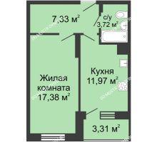 1 комнатная квартира 43,71 м² в ЖК Красная поляна, дом № 6