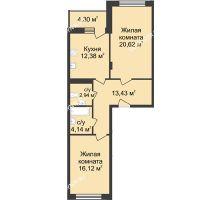 2 комнатная квартира 71,78 м² в ЖК Планетарий, дом № 6 - планировка