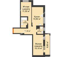 2 комнатная квартира 67,4 м² в ЖК Подкова на Цветочной, дом № 8 - планировка