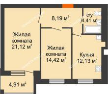 2 комнатная квартира 62,72 м² в ЖК Свобода, дом 2 очередь - планировка