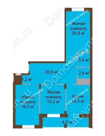 3 комнатная квартира 102,2 м² в ЖК Монолит, дом № 89, корп. 1, 2