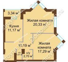 2 комнатная квартира 65,86 м² - ЖК Грани
