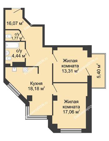 2 комнатная квартира 72,45 м² в ЖК Мега, дом № 2