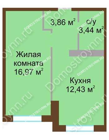 1 комнатная квартира 36,7 м² в ЖК Мой дом на Коломенской, дом № 1