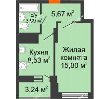 1 комнатная квартира 35,61 м² в ЖК Встреча, дом № 1 - планировка