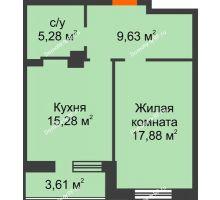 1 комнатная квартира 51,68 м² в ЖК Континент, дом № 16 - планировка