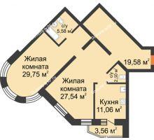 2 комнатная квартира 99,57 м², ЖК На Владимирской - планировка