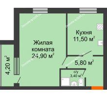 1 комнатная квартира 49,8 м² в ЖК Сиреневый квартал, дом Секция 2 - планировка