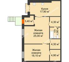 2 комнатная квартира 82,8 м², Жилой дом: г. Дзержинск, ул. Кирова, д.12 - планировка