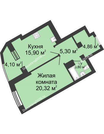 1 комнатная квартира 54,28 м² - ЖК Юбилейный