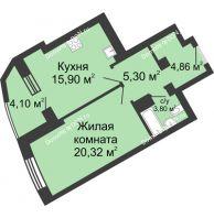 1 комнатная квартира 54,28 м², ЖК Юбилейный - планировка