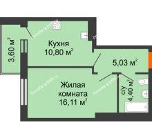 1 комнатная квартира 39,94 м² в ЖК Днепровская Роща, дом № 1 - планировка