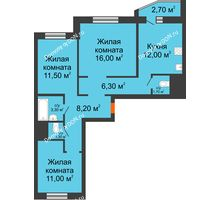 3 комнатная квартира 72,7 м² в ЖК Левенцовка парк, дом Корпус 8-7 - планировка