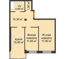 2 комнатная квартира 66,5 м² в Микрорайон Европейский, дом №9 блок-секции 1,2 - планировка