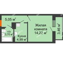 1 комнатная квартира 31,42 м² в ЖК Виктория, дом № 52 - планировка