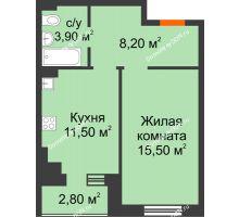 1 комнатная квартира 40 м² в Микрорайон Прибрежный, дом № 8 - планировка