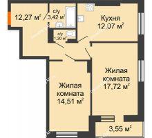 2 комнатная квартира 64,84 м² в ЖК Виктория, дом № 52 - планировка