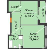 1 комнатная квартира 64,22 м² в ЖК Георгиевский, дом 2а - планировка
