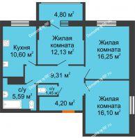 3 комнатная квартира 75 м² в Макрорайон Амград, дом № 1 - планировка