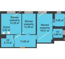 2 комнатная квартира 74,43 м², ЖК Русский Авангард - планировка