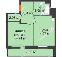 1 комнатная квартира 47,74 м² в ЖК Циолковский, дом № 3 - планировка