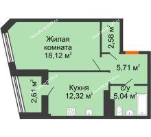 1 комнатная квартира 46,38 м² в Микрорайон Красный Аксай, дом Литер 21