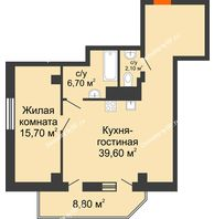 2 комнатная квартира 68,5 м², ЖК Sacco & Vanzetty, 82 (Сакко и Ванцетти, 82) - планировка