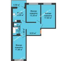 3 комнатная квартира 78,3 м² в ЖК Лазурный, дом 50 позиция (2-5 подъезд) - планировка