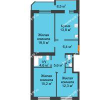 3 комнатная квартира 87,5 м² в ЖК Острова, дом 4 этап (второе пятно застройки) - планировка