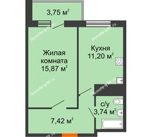 1 комнатная квартира 39,37 м² в ЖК Галактика, дом Литер 1 - планировка