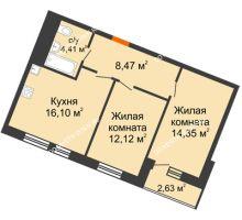 2 комнатная квартира 58,08 м² в ЖК Книги, дом № 1 - планировка
