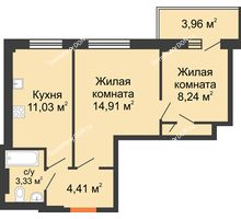 2 комнатная квартира 44,1 м², ЖК Дом на 14-й Линии - планировка