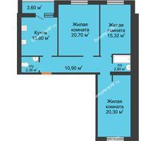 3 комнатная квартира 89,88 м² в ЖК Новая Самара, дом № 44 - планировка