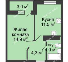 1 комнатная квартира 36,2 м² в ЖК Цветы, дом № 10 - планировка