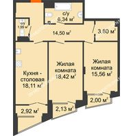 2 комнатная квартира 82,16 м², Клубный дом на Ярославской - планировка